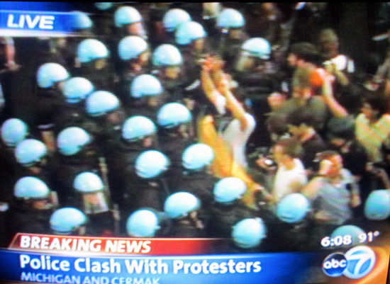 NATO protesters with phones, May 20th (author screenshot of Channel 7 coverage)