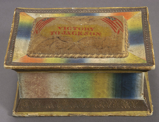 """1832 sewing box adorned with the motto """"Victory to Jackson"""" (Courtesy Cornell University Library via Flickr Commons)"""