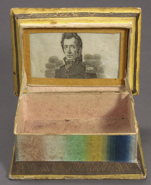 """1832 sewing box decorated on the outside with the motto """"Victory to Jackson"""" and with a picture of General Andrew Jackson inside (Courtesy Cornell University Library via Flickr Commons)"""