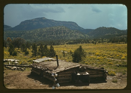 Dugout house of Faro Caudill, homesteader, with Mt. Allegro in the background, Pie Town, New Mexico, October 1940. Photograph by Russell Lee.