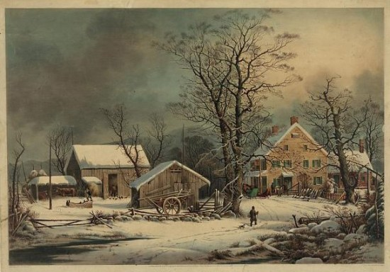 "Currier and Ives hand-colored lithograph, ""Winter in the Country: A Cold Morning"" (1863), courtesy of the Library of Congress."
