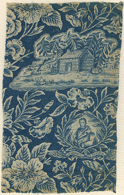 'William H Harrison and Reform' Portrait Textile from the campaign of 1840 (Courtesy Cornell University Library via the Commons on Flickr)