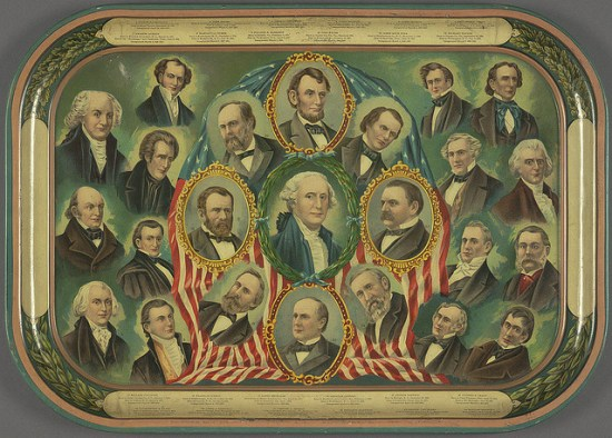 Presidential portrait tray from the Susan Douglas Collection at Cornell University