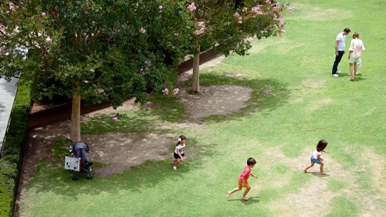 Kids playing on the Getty grounds.