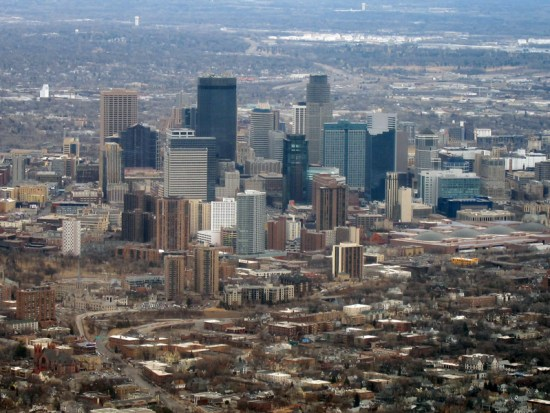 Aerial view of Minneapolis on a late winter day.