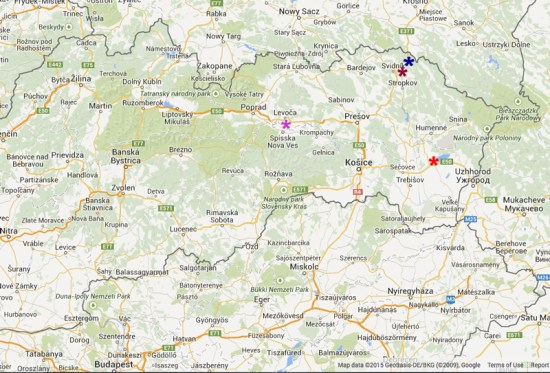 My ancestors' native villages on a map of present-day eastern Slovakia