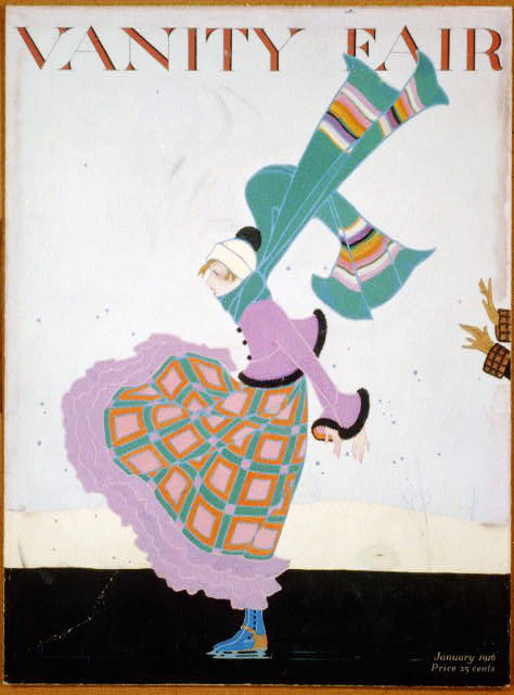 Color drawing of a female ice-skater being pushed out onto the ice, her skirt and scarf flying..