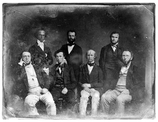 Horace-Greeley with the staff of his New York Tribune, prior to 1860 (Courtesy Library of Congress)