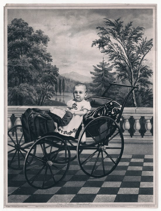 A child with an adult looking face and seated in a fine carriage.