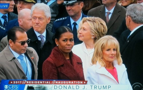 Bill Clinton, Hillary Clinton, Michele Obama, and Jill Biden among dignitaries on inauguration dias.