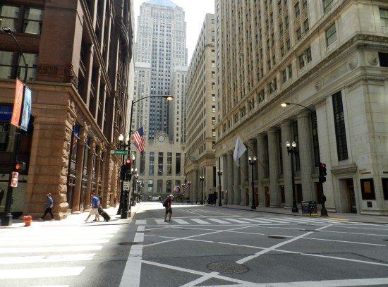 LaSalle Street is deserted. A post-pandemic norm
