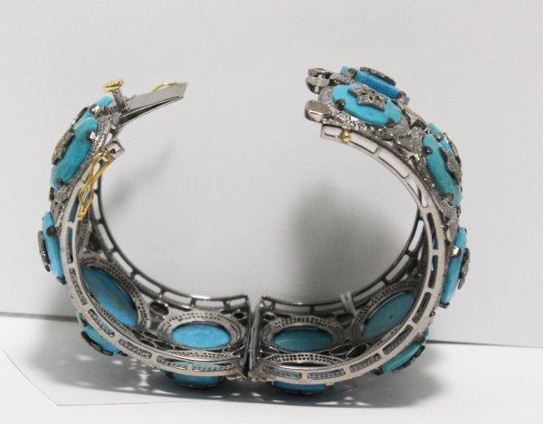 Wide Turquoise Diamond Bracelet open view