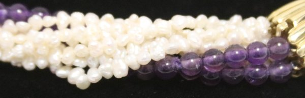 Pearl Amethyst Necklace Bracelet side view