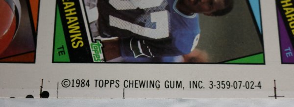 1984 Topps Football Cards label