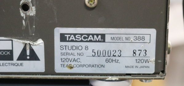 Tascam Studio Mixing Console label