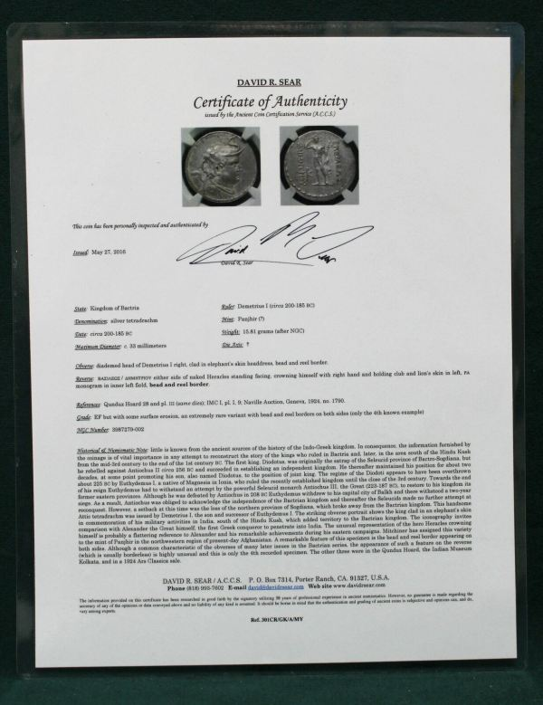 Bactria Silver Tetradrachm Coin cert