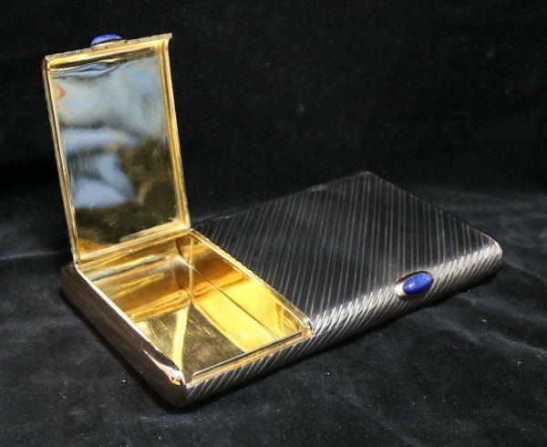 Silver Cigar Cigarette Box other open