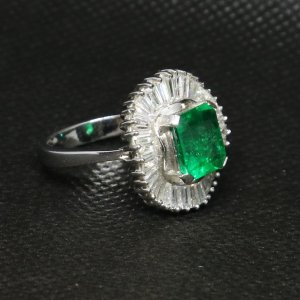 angle Large Emerald Diamond Ring