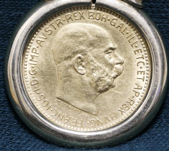 Austrian Gold Coin Pendant close