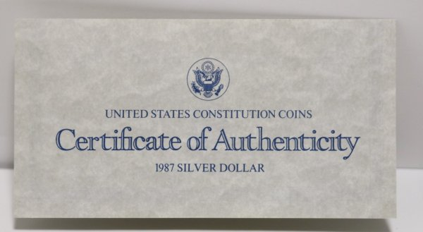 1987s Constitution Silver Dollar coa