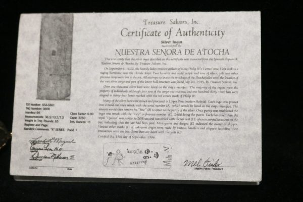 Atocha Sunken Treasure Galleon cert