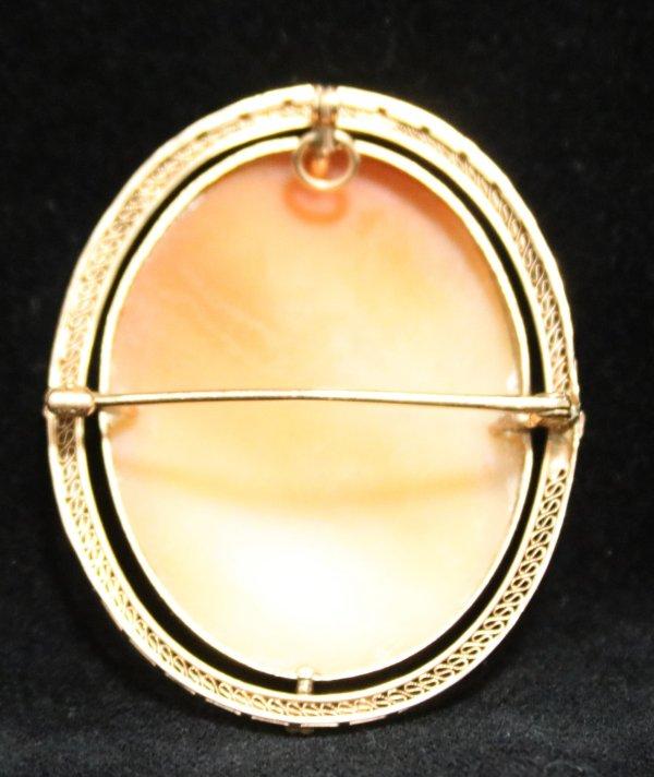 Cameo Broach Necklace Pendant back