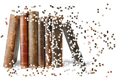 An image of books edited digitally