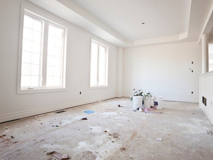 empty room under construction with white walls