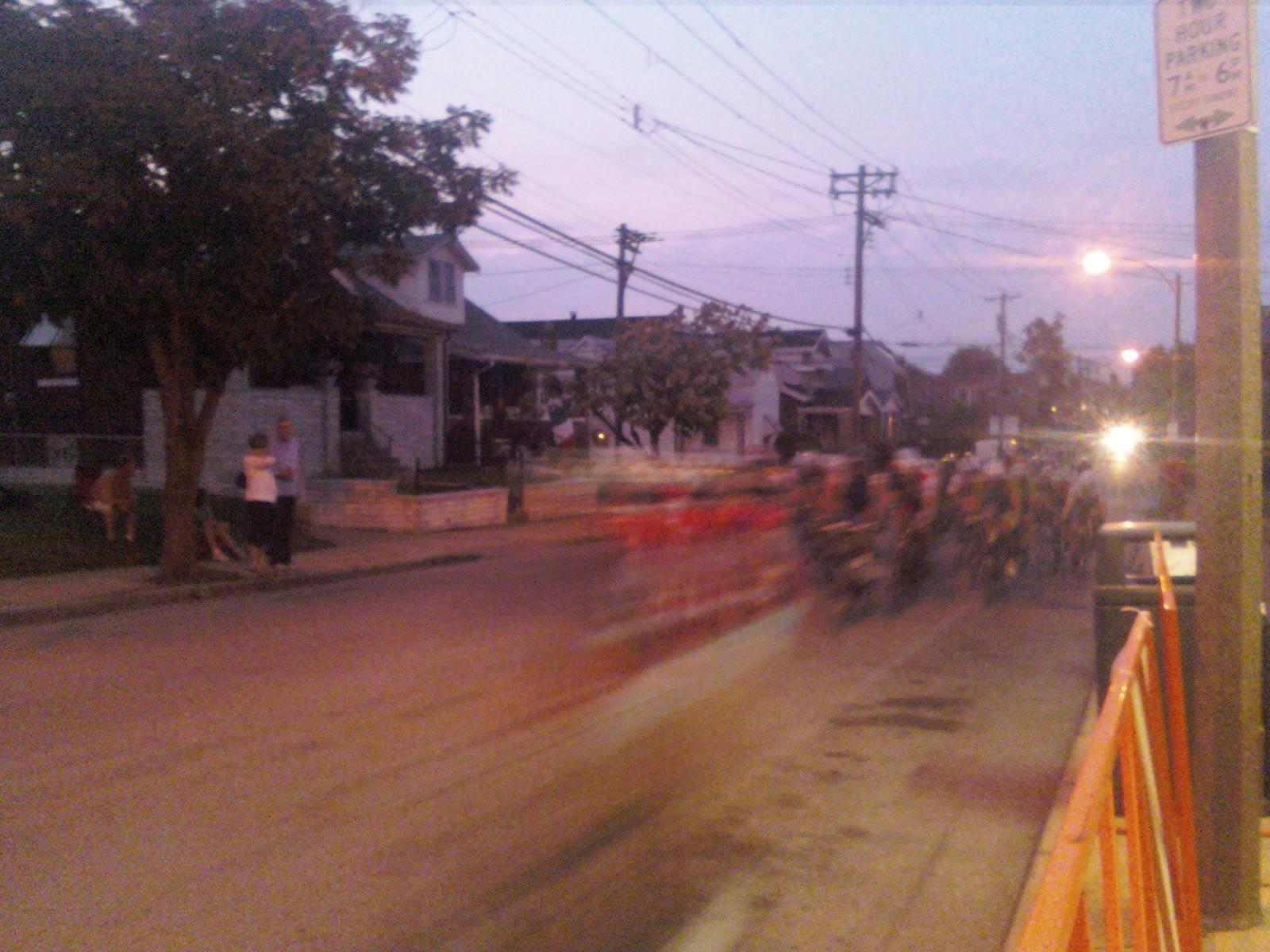 twilight racing from Mama Campisi's sidewalk