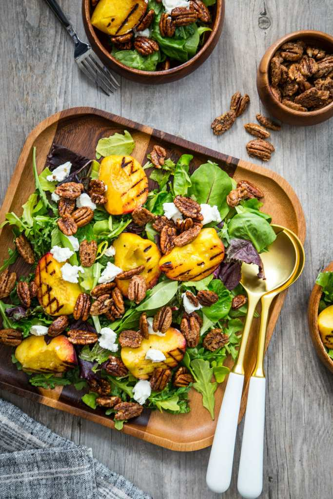 Jelly Toast Spiced Pecan Grilled Peach Salad With Goat Cheese Recipe - American Pecan Council