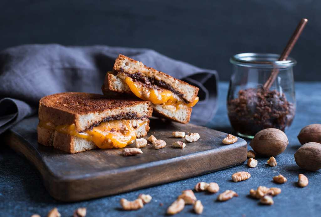 Grilled Cheese with Pecan and Sundried Tomato Spread