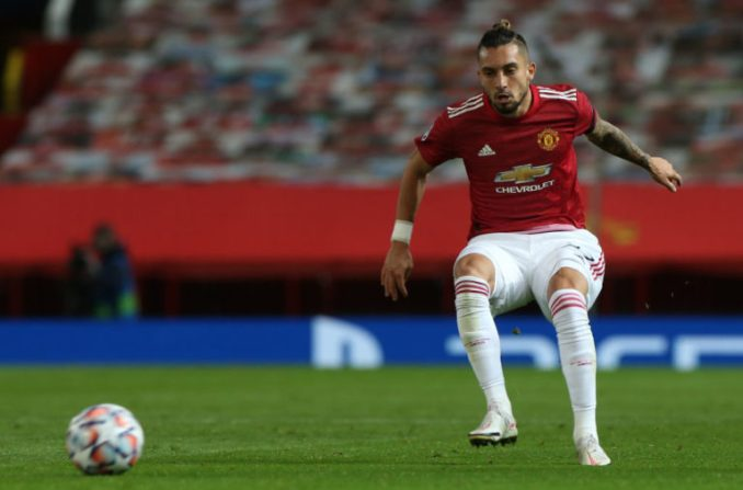 MANCHESTER, ENGLAND - NOVEMBER 24: Alex Telles of Manchester United in action during the UEFA Champions League Group H stage match between Manchester United and İstanbul Basaksehir at Old Trafford.