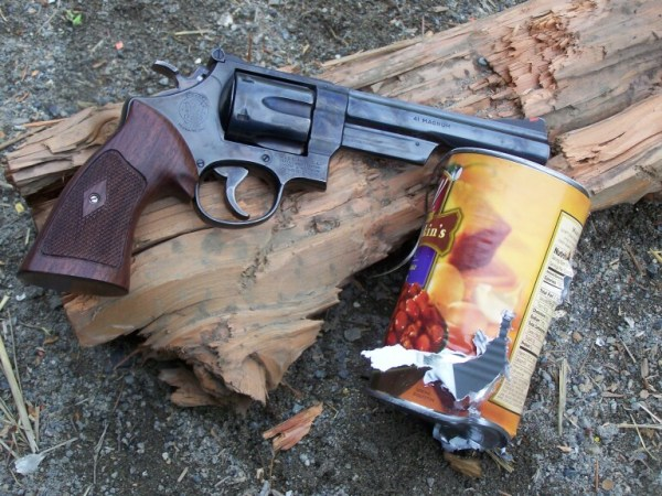 The N-frame Smith & Wesson is the perfect platform for the .41 Magnum. As the can attests, the gun can shoot, too!
