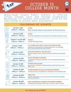 College Month Calendar of Events - October 2021