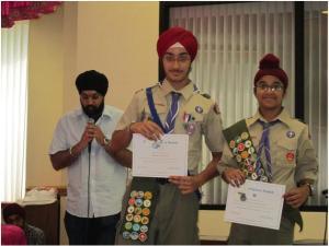 Karanveer Singh (Eagle Scout) and Sherveer Singh (Life Scout) receive Sikh Religious Awards at Sikh Sabha Gurdwara in Lawrenceville on July 20, 2014