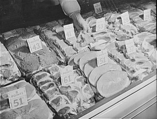 Meat Case with Prices and Ration Points Required to Buy. 1943