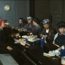 Women railroad workers on lunch break, Clinton, Iowa. April, 1943. Photo by Jack Delano. Library of Congress collections.
