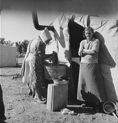 Home of Oklahoma Dust Bowl refugees in California. 1937. Photo by Dorothea Lange.
