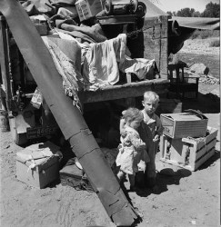 Migrant children in Ramblers' Park. Yakima, Washington, 1939. Photo by Dorothea Lange.