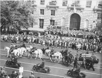 President Franklin Delano Roosevelt's funeral procession with horse-drawn casket. Washington, D.C., April 24, 1945.