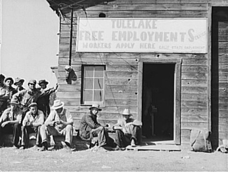 Unemployed Men in Front of California State Employment Services Office, 1938. Photo by Dorothea Lange.