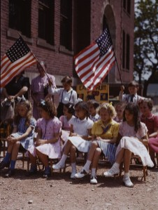 School Children at an Assembly. Southington, Connecticut. May, 1942. Photo by Fenno Jacobs.