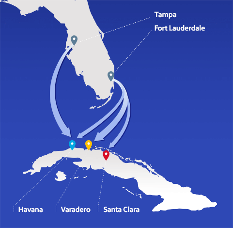 Map-Southwest Airlines Cuba flights