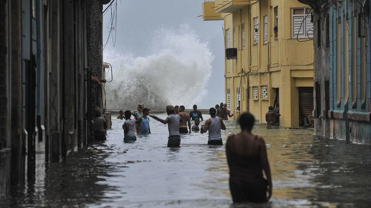 Irma effects on the Malecon, Havana,Cuba