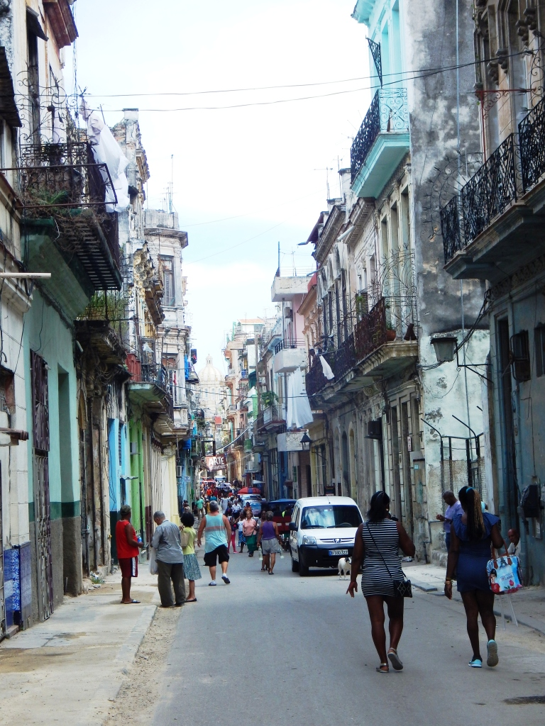 Neglected buildings line Havana streets