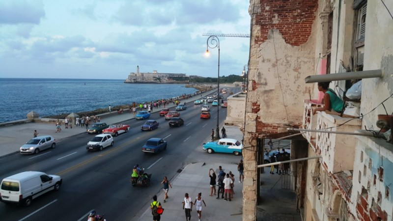 View of the Malecon from paladar Castropol, Havana
