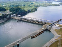 The Wstts Bar dam on the Tennessee River, built from 1939 to 1942, provided urgently needed electricity for the World War II effort. (TVA.org)
