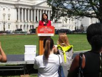 Rep. Tulsi Gabbard (D-HI) addresses Summer for Progress rally for H.R. 676 on July 25, 2017.