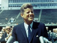 JFK at his speech speaking at Rice University on the Apollo Mission in 1962.