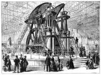 The Corliss steam engine featured at the 1876 American Centennial, a showcare of American System progress.